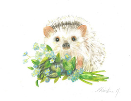 NZ Artist Blank Greeting Card Baby Hedgehog and Forget-Me-Nots