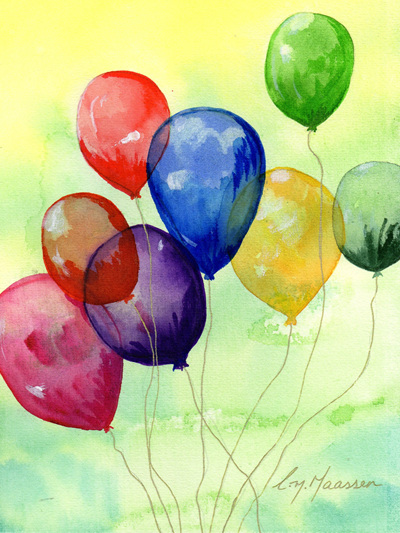 NZ Artist Blank Greeting Card Balloons