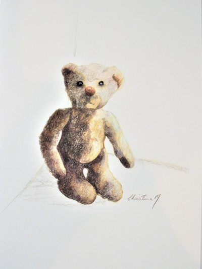 NZ Artist Blank Greeting Card Curly the Teddy Bear