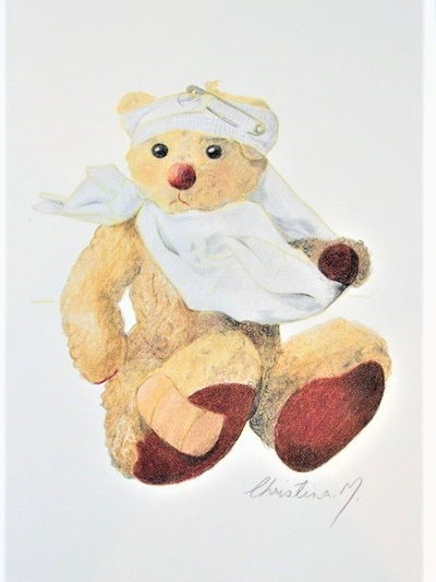 NZ Artist Blank Greeting Card Curly the Teddy Bear: Get Well
