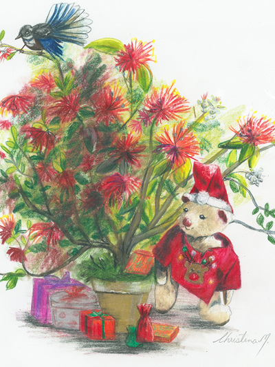 NZ Artist Blank Greeting Card Curly the Teddy Bear: New Zealand Christmas