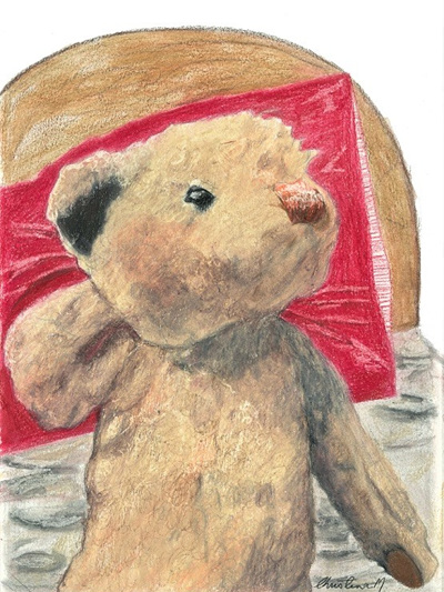 NZ Artist Blank Greeting Card Curly the Teddy Bear: In Bed