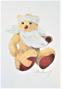 NZ Artist Blank Greeting Card Curly the Teddy Bear: Get Well