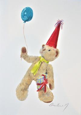 NZ Artist Blank Greeting Card Curly the Teddy Bear: Party