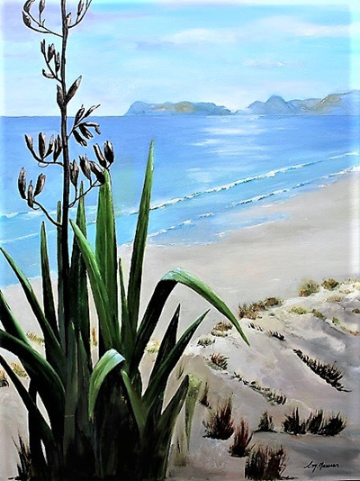 NZ Artist Blank Greeting Card Flax for Sure