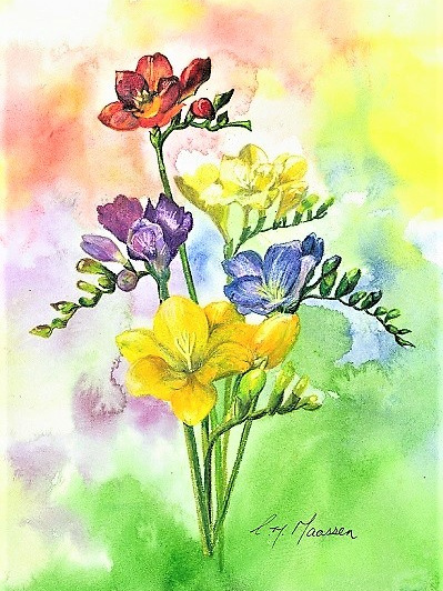 NZ Artist Blank Greeting Card Freesias