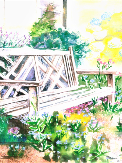 NZ Artist Blank Greeting Card Garden Seat