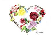 NZ Artist Blank Greeting Card Heart Wreath