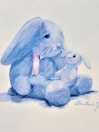 NZ Artist Blank Greeting Card Mother and Baby Bunny: Blue