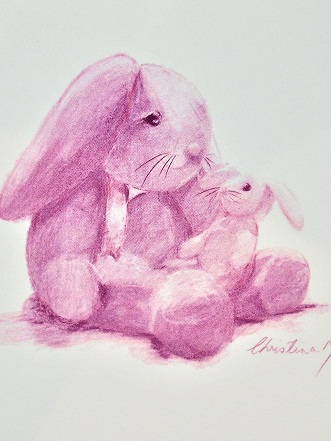 NZ Artist Blank Greeting Card Mother and Baby Bunny: Pink