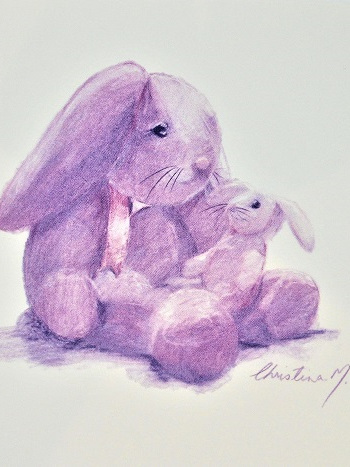 NZ Artist Blank Greeting Card Mother and Baby Bunny: Purple