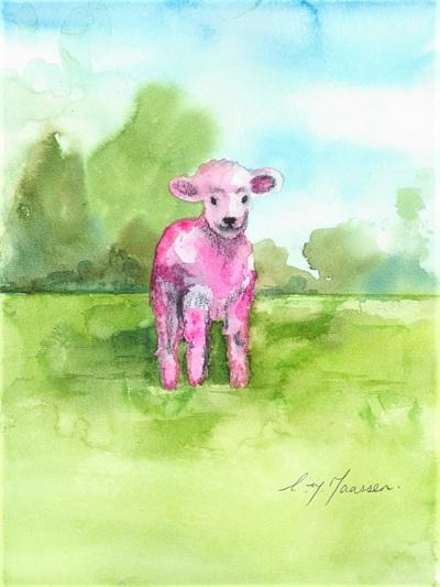 NZ Artist Blank Greeting Card Pink Lamb