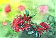 NZ Artist Blank Greeting Card Pohutukawa