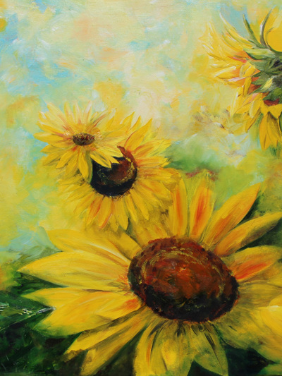 NZ Artist Blank Greeting Card Sunflowers