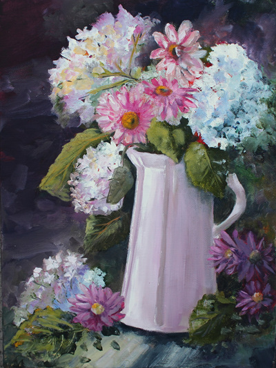NZ Artist Blank Greeting Card Vase of Flowers