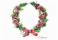 NZ Artist Blank Greeting Card Vintage Christmas Wreath