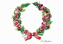 NZ Artist Blank Greeting Card Vintage Christmas Wreath