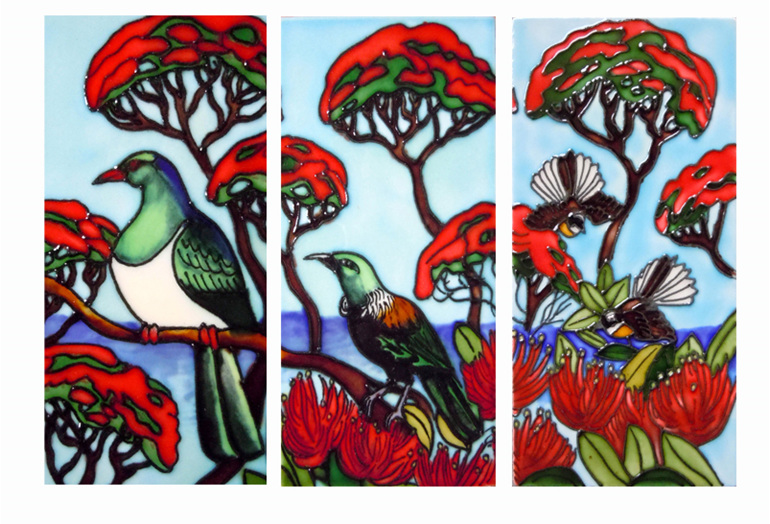 NZ birds on a flowering Pohutukawa tree; set of three ceramic tiles