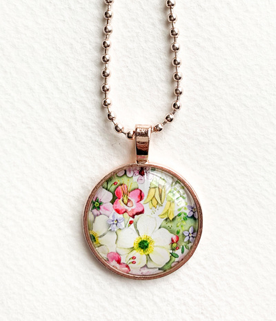 NZ flora pendant necklace - rose gold