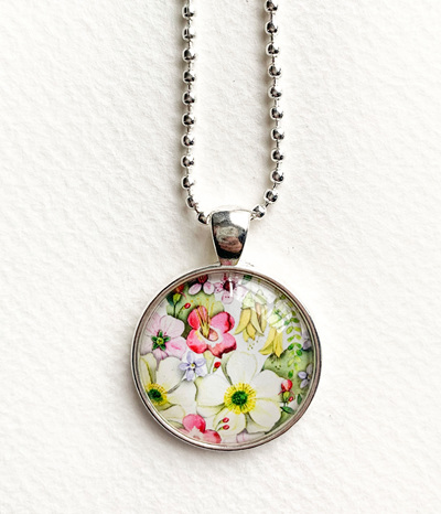 NZ flora pendant necklace - silver