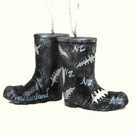 NZ Gumboots with Silver Ferns Tree Decoration