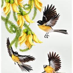NZ In Flight Piwakawaka - A3 Print