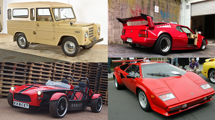 NZ Made Cars from left clockwise: Trekka, Countess Lamborghini, and Exocet