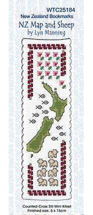 NZ Map and Sheep Bookmark Stitching Kit