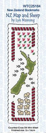 NZ Map and Sheep Bookmark Stitching Kit
