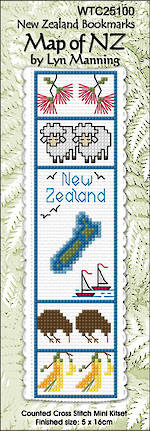 NZ Map Bookmark Stitching Kit