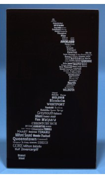 NZ Map glass word Cheese Board