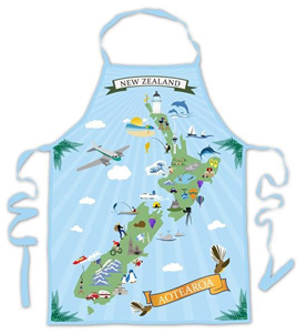 NZ Map Retro Art Icons - Apron
