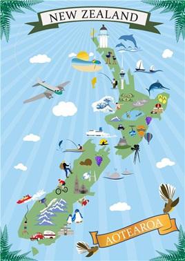 NZ Map Retro Art Icons - Tea towel