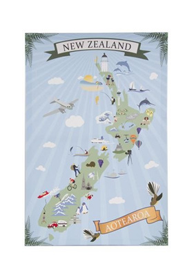 NZ Reto Art Icons Map