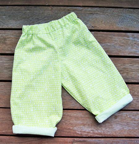 'Oakley' Elastic Waist Trousers, 'Scribble Green' 100% Cotton (summer weight), 6-9m