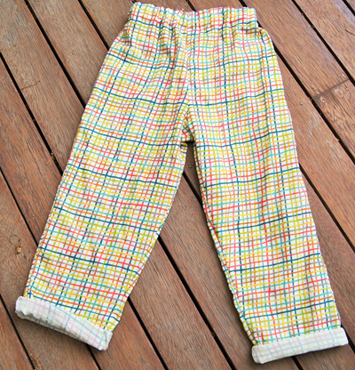 'Oakley' trousers, elastic waist, 'Woven' GOTS Organic Cotton Double Gauze, 3 yrs