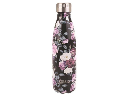 Oasis Stainless Steel Midnight Floral Bottle 500ml
