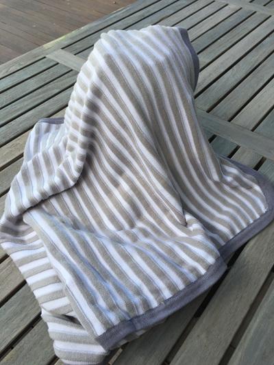 Obaibi Cotton knit blanket Grey and white