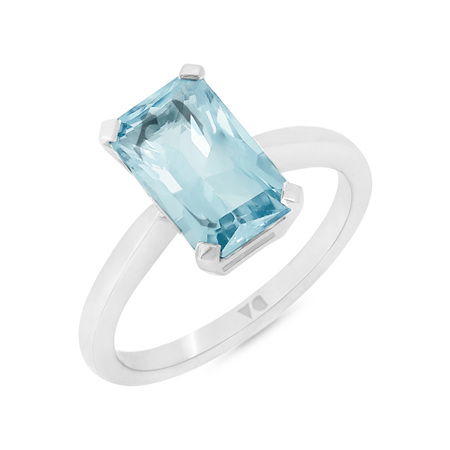 Octagonal Aquamarine Solitaire Ring