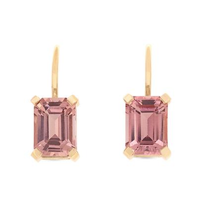Emerald Cut Pink Tourmaline Earrings