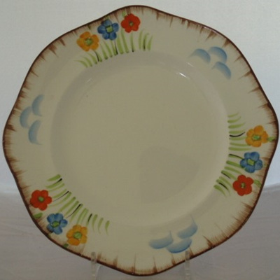 Octagonal hand painted plate