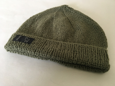 Olive Green Knitted Hat 4 Ply 100% Alpaca