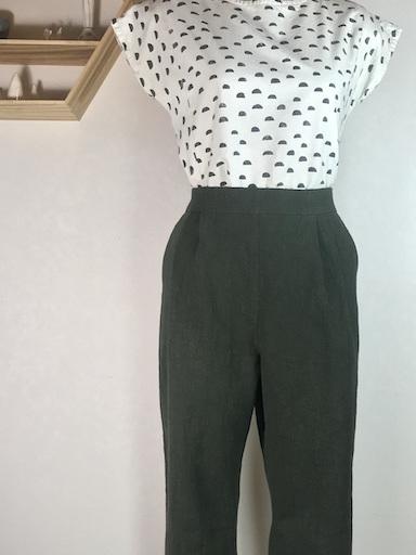 Olive pleat linen pants