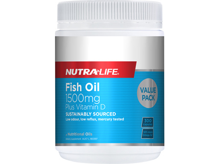 Omega 3 Fish Oil 1500mg + Vit D Caps - 300 Caps