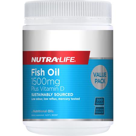 Omega 3 Fish Oil 1500mg + Vit D Caps - 300 Caps