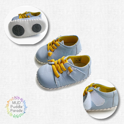 OMN shoes blue grey with yellow laces