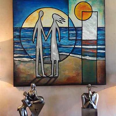 Mark Dimock On The Beach Blue Grey