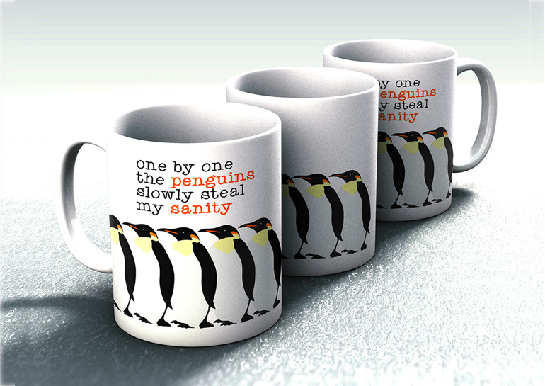 one by one penguins steal my sanity mug