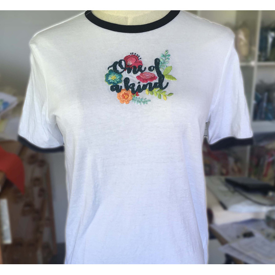 one of a kind embroidered tshirt
