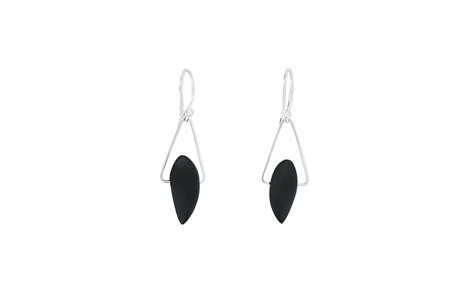 Onyx Sterling Silver Triangle Earrings